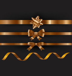 set of decorative golden ribbons on black vector image