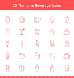 Set of Thin Line Stroke Beverage Icon vector