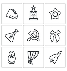 set russia country icons soldier field vector image
