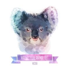 set watercolor cute coala vector image