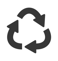 Silhouette oval recycling symbol shape with arrows vector