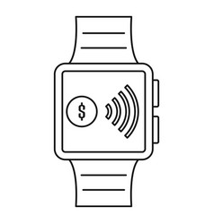 Smartwatch nfc pay icon outline style vector