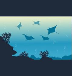 Stingray on ocean landscape vector