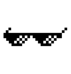 Sun glasses pixel icon black color flat style vector
