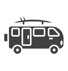 Surfer van glyph icon transport and vehicle vector