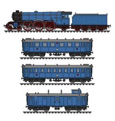 The vintage blue passenger steam train vector