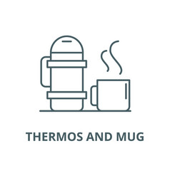 Thermos and mug line icon linear concept vector