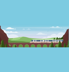 train traveling on bridge in summer landscape vector image