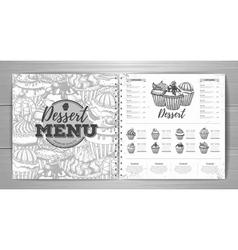 Vintage dessert menu design background vector image