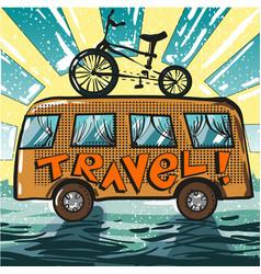 Vintage pop art of travel bus vector