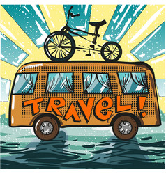 Vintage pop art travel bus vector