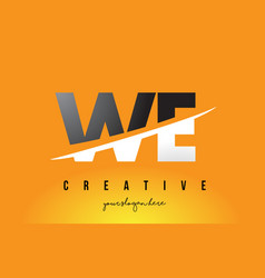 We w e letter modern logo design with yellow vector