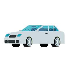 White sedan car icon in flat design vector
