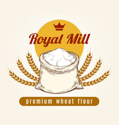 Whole bag of wheat flour sketch vector
