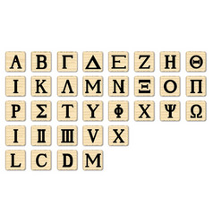 wooden alphabet letters vector image