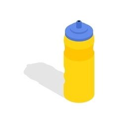 Yellow sport plastic water bottle icon vector image