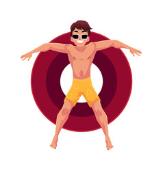 young man in sunglasses on inflatable ring in star vector image
