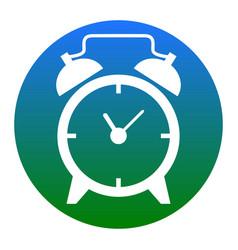 alarm clock sign white icon in bluish vector image