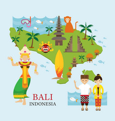 bali indonesia map with travel and attraction vector image vector image