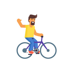 bearded man riding on bike vector image vector image