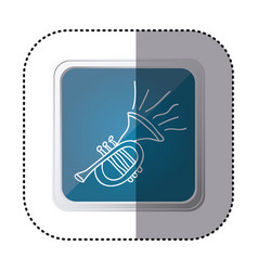 blue symbol trumpet instrument icon vector image