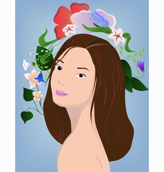 Brunette with flowers vector image vector image