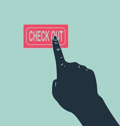 hand pushing check out button vector image vector image