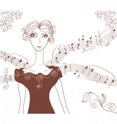 music retro girl background vector image