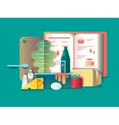 Book of recipes and products for cooking vector image