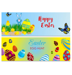 easter cards bunny chickens eggs and flower vector image vector image