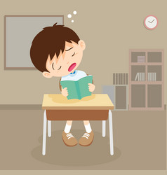 student boy read a book but sleeping in classroom vector image vector image