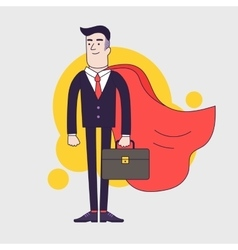 Young serious businessman superhero with leather vector image