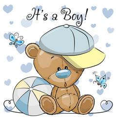 baby shower greeting card with cute teddy bear boy vector image