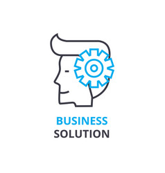 business solution concept outline icon linear vector image