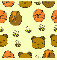 collection bear and honey pattern style vector image
