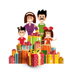 people with paper gift boxes happy family and vector image vector image