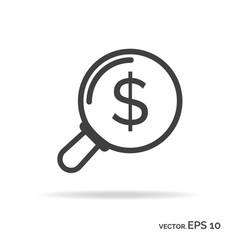 search money outline icon black color vector image vector image