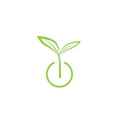 Sprout mockup eco logo green leaf seedling growing vector image vector image