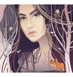Young Woman in Forest vector image vector image