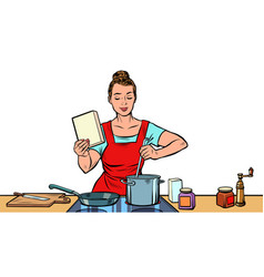 A woman cooks in kitchen vector
