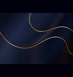 Abstract shiny gold wave curved lines pattern vector