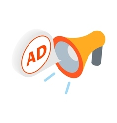 Advertisement megaphone icon in isometric 3d style vector image