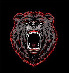 Aggressive grizzly head colorful template vector