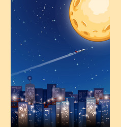 airplane flying on fullmoon night vector image