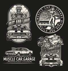 American custom cars vintage badges vector