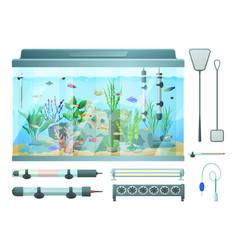 Aquarium and devices set vector