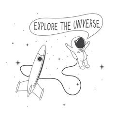 Astronaut rocket vector