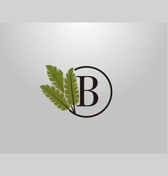 B letter logo circle nature leaf logo design vector