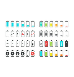 battery icons phone charge level ui design vector image