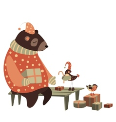 Bear and bird celebrate Christmas vector image